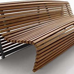 B&B Italia Titikaka Outdoor Bench - This bench is amazing looking. I love the curves of the teak lathes over the aluminum frame.