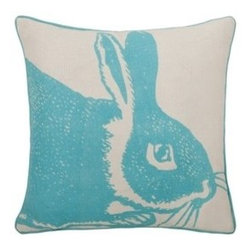 Thomas Paul Bunny Linen Pillow - Aqua - Thomas Paul Bunny Linen Pillow - Aqua