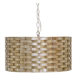 Worlds Away Craig Silver Leafed Basketweave Pendant  Lighting - Worlds Away Craig Silver Leafed Basketweave Pendant