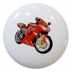 Carolina Hardware and Decor, LLC - Red Motorcycle Ceramic Knob - New 1 1/2 inch ceramic cabinet, drawer, or furniture knob with mounting hardware included. Also works great in a bathroom or on bi-fold closet doors (may require longer screws). Item can be wiped clean with a soft damp cloth. Great addition and nice finishing touch to any room!