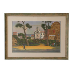 "Roman Walk - Consigned Vintage Artwork - Beautiful detailed vintage painting by artist Leonard Scheu (1904-1995). Signed ""L. Scheu"" lower right. Displayed in a double paper mat, gray and white, and a painted and distressed wood frame."
