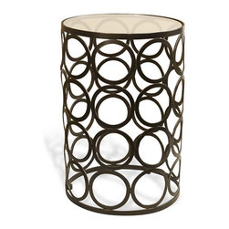 Interlude - Shara Side Table - Circles in dark bronze with a glass top give the Shara Side Table a warm transitional feeling.