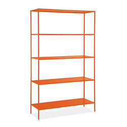 Slim Shelves in Colors - Here's a colorful option for those who prefer straight lines. This piece would look awesome against a bright white wall. I would use this solely as a bookshelf.