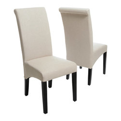 Great Deal Furniture - Morrow Beige Fabric Dining Chairs (Set of 2) - The Morrow Dining Chairs offer a refined elegance to any space they are placed in. Dress up your dining room with these tall back parsons dining chairs and notice their sleek seats and contemporary lines. These elegant dining chairs will command a presence in your dining room or even your living room, office or bedroom.