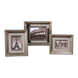 Uttermost - Grace Feyock Hasana Photo Frames - 3 Pc Set - Designer:Grace Feyock. Holds photo sizes: 4x6, 5x7 and 8x10. Small - 2 in. L x 13 in. W x 15 in. H. Medium - 2 in. L x 14 in. W x 16 in. H. Large - 1.875 in. L x 17.125 in. W x 19.125 in. HAntiqued mirror center panels surrounded by Antiqued Silver frames.
