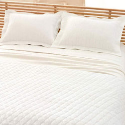 Pine Cone Hill - hardwood matelasse sham (white) - A modern take on the matelasse coverlet with a tone-on-tone, branchlike stripe. An ideal natural texture in a versatile neutral. Features flanged, envelope back closure.��This item comes in��white.��This item size is��euro or std.
