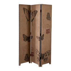 SEI - Vintage Butterfly Room Divider - Define space and add a fun, vintage touch with this beautiful room divider. It's the perfect accent to define your space and your style in one! This room divider features a black frame with a natural burlap finish and beautiful butterfly designs in black and red. This vintage style room divider is perfect for homes with any decor, especially transitional to contemporary homes. This room divider looks wonderful in any space that needs a little definition.