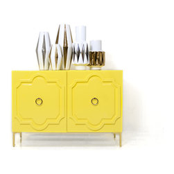 """Marrakesh Tall Boy 2 Door Credenza, Yellow - A modern Moroccan inspired credenza, this 2 door piece features a Moroccan molded motif, 7"""" custom brass legs, and our custom brass ring hardware."""