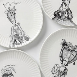 Ladies-In-Waiting Dinner Plate - Made by Parisian artist Florence Balducci, these ladies-in-waiting ceramic plates will be the topic of discussion at any fall dinner party.