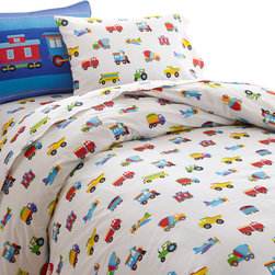 Wildkin - Olive Kids Trains, Planes, Trucks Twin Duvet Cover - Trains, Planes & Trucks is an Olive Kids classic! Our duvet cover features airplanes, trucks and trains all over the soft cotton percale fabric. Button closure.