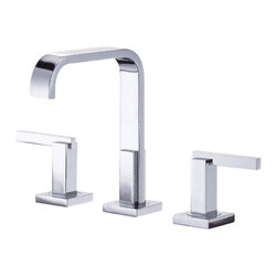 "Danze - Danze D304544 Chrome Widespread Lavatory Faucet Two Handle - Danze D304544 Chrome Trim Line Widespread Lavatory Faucet is part of the Sirius Bath collection.  D304544 3 hole 6""-12"" Trim Line Widespread lav faucet has a 5 1/2"" long and 7 1/2"" high spout, with metal touch down drain.  D304544 Two lever handles meets all requirements of ADA.  California and Vermont compliant."