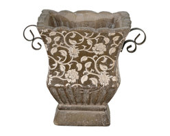 None - Large Brown Square Ceramic and Iron Floral Pot Decorative Accessory - Redecorate your favorite space with the elegant design of this large square floral pot decorative accent. This attractive piece is designed with a brown finish and a durable ceramic construction.