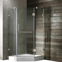 Vigo - VIGO VG6062BNCL40 Neo-Angle Shower - Both dramatic and space-saving, the VIGO frameless neo-angle shower enclosure creates a beautiful focal point for your bathroom.
