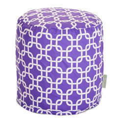 Majestic Home - Indoor Purple Links Small Pouf - The classic beanbag just got better, now in a cute pouf version perfect for your bedroom, dorm suite or chick cave. It's made of durable cotton twill, and that chain pattern in your choice of colors couldn't be more fabulous.