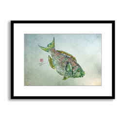 Gallery Direct - Dwight Hwang's 'Parrot Fish' Framed Paper Art, 30x23 - A nod to the traditional Japanese art of gyotaku, meant as a way to record a proud catch for fishermen, this print captures delicate detail of the actual fish. This striking print comes framed and matted with a three inch white mat. The perfect way to add character, depth and value to your room, it is printed using the highest quality materials. Arrives ready to hang.