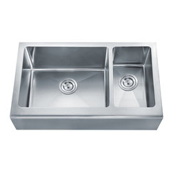 """Dowell - Dowell 32"""" x 20"""" Undermount Handcrafted Small-Radius Corner Double Bowl Sink - Grid & Strainer included"""