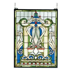 Meyda - 18 Inch W x 24 Inch H Royal Blue Windsor Windows - Color theme: Beige zasdy Lt blue 59