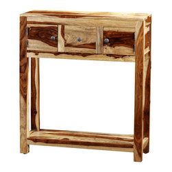 Artemano - Cayenne Console Table Made of Rosewood , Natural - The clean and sleek design of the Cayenne console table accentuates the distinctive wood grain of Indian Rosewood, which we offer in 3 finishes.  This versatile piece of furniture will look great in your living room, dining room or entryway and is rather practical given its additional storage space.