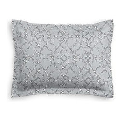 Pale Gray Scroll Trellis Custom Sham - The Simple Sham may be basic, but it won't be boring!  Layer these luxurious reversible shams in various styles for a bed you'll want to fall right into. We love it in this chic Moroccan style trellis with intricate outlined scrolls of white on ice gray cotton.