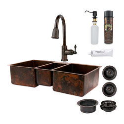 "Premier Copper Products - 42"" Kitchen Triple Basin Sink w/ ORB Faucet - PACKAGE INCLUDES:"