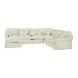 Ballard Designs - Suzanne Kasler Signature 13oz Linen Baldwin 4-Piece Sectional Slipcover - Left A - Coordinates with Suzanne's linen panels, tablecloths & pillows. Easy to change with the seasons & to remove for cleaning. Dry clean. Imported. Suzanne's best-selling line of luxurious linens now include slipcovers designed exclusively to fit our Baldwin 4-Piece Sectional. Each slipcover is hand finished with strong, over-locking seams and Velcro under the arms for a secure fit. A Baldwin Slipcover is necessary when ordering any Baldwin frame.Suzanne Kasler Linen Baldwin 4-Piece Sectional Slipcover features:. . . .