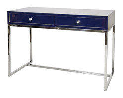 """Worlds Away - Worlds Away William Navy Lacquer Desk with Stainless Steel Base - """"Everything old is new again,"""" as the song goes. This vintage navy lacquer desk with a stainless steel base is a midcentury modern take on a compact desk. Perfect for your laptop or tablet, this fits snugly in any office space or nook and won't hog real estate."""