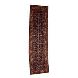 eSaleRugs - 3' 7 x 13' 1 Hossainabad Persian Runner Rug - SKU: 110891543 - Hand Knotted Hossainabad rug. Made of 100% Wool. 25-30 Years.