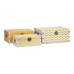 Chic Motif Storage Boxes - Set of 3 - We love organizational tools that double as cute décor. Trendy patterned boxes like these can be set up by the door to sort mail, and look so good that guests will never know. What will you do with yours?