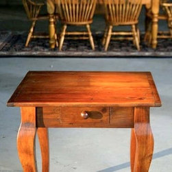Square End Table With Drawers and Brown Cherry Finish - Made by http://www.ecustomfinishes.com