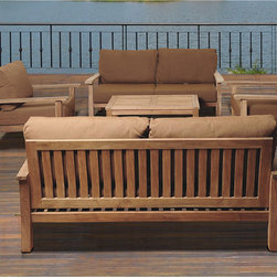 """Amazonia Teak - San Francisco Deluxe 5-piece Deep Seating Set with Sunbrella - The San Francisco Deluxe five-piece Deep Seating set with Sunbrella """"Teak"""" color cushions combines quality,style and comfort. This modern set will make an immediate impact in your patio."""