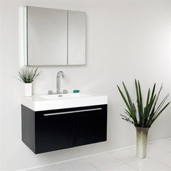 Fresca - Fresca Vista Black Modern Bathroom Vanity with Medicine Cabinet - A spacious one basin vanity is a chic addition to any decor. Ideal for anyone looking for a winning combination of style, sleek design, and size that brings it all together to present something dashingly urban. A simple, sleekly chic design that compliments any interior that demands to be updated to a strong streamlined space. A beautiful widespread chrome faucet is also included. Optional side cabinets are available. Features MDF/Veneer with Acrylic Countertop/Sink with Overflow Soft Closing Doors Widespread Faucet Mount P-trap, Faucet/Pop-Up Drain and Installation Hardware Included How to handle your counterInstallation GuideView Spec Sheet