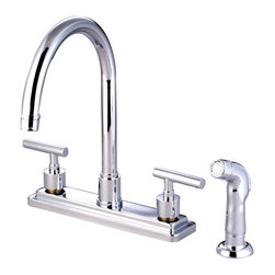 "Kingston Brass - Double Handle 8"" Kitchen Faucet with Non-Metallic Sprayer - This double handle deck mount kitchen faucet features an 8"" centerset with a non-metallic side sprayer and 360 degree-turn swivel spout. The thin cylindrical handles and bulky escutcheons brings an avant-garde look inspiring and impressing with its contemporary flair. Fabricated in solid brass for durability and reliance, the faucet comes in four different finishes for resistance from tarnishing and corrosion. Includes a ten-year limited warranty.; Plastic Sprayer Included; 1/4 Turn Ceramic Disk Cartridge; Manhattan Lever Handles; 8"" Spout Projection with a 7-1/2"" spout clearance; 3 Hole Installation; Material: Brass; Finish: Polished Chrome Finish; Collection: Manhattan"