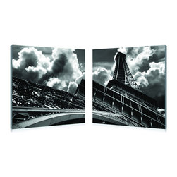 Baxton Studio - Touch the Clouds Mounted Photography Print Di - Mounting hardware not included. Contemporary style. Two individual frames intended for display adjacent to one another. Images printed on waterproof vinyl canvas. MDF wood frames. Ready to hang. Dust with dry cloth. No assembly required. Frame thickness: 1 in.. 19.68 in. W x 19.68 in. H (9 lbs.)One of the most easily recognized and photographed structures in the world, the Eiffel Tower appears to reach for the stars in this striking black-and-white photo.