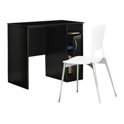 South Shore - South Shore Axess Small Desk in Pure Black - South Shore - Computer Desks - 7270075 - Need to tidy up your home office? This Axess collection small desk is perfect for all your storage needs! Its design includes all the space you need for a well-organized workspace thanks to its closed storage spaces. In addition, the work surface is great for laying out homework or setting down a laptop.
