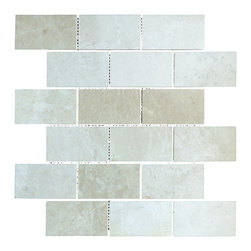 STONE TILE US - Stonetileus 20 pieces (20 Sq.ft) of Mosaic Botticino 2x4 Polished - STONE TILE US - Mosaic Tile - Botticino - 2x4 - Polished Specifications: Coverage: 1 Sq.ft size: 2x4 - 1 Sq.ft/Sheet Piece per Sheet : 18 pc(s) Tile size: 2x4 Sheet mount:Meshed back Stone tiles have natural variations therefore color may vary between tiles. This tile contains mixture of white - light brown - dark brown - and color movement expectation of high variation, The beauty of this natural stone Mosaic comes with the convenience of high quality and easy installation advantage. This tile has Polished surface, and this makes them ideal for kitchen, bathroom, outdoor, Sheets are curved on all four sides, allowing them to fit together to produce a seamless surface area. Recommended use: Indoor - Outdoor - High traffic - Low traffic - Recommended areas: Botticino - 2x4 - Polished tile ideal for floor, walls, kitchen, bathroom, Free shipping.. Set of 20 pieces, Covers 20 sq.ft.