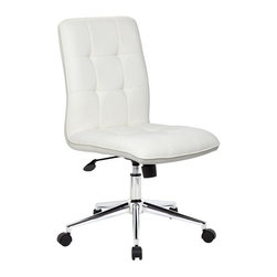 BOSS Chair - Modern Office Chair - White - Modern task chair. Upholstered in white CaressoftPlus. High crown chrome base. MAS Green Certified. 27 in. L x 27 in. W x 35.5-38.7 in. H (27 lbs.). Assembly requiredBeautifully upholstered with ultra-soft durable and breathable White CaressoftPlus. Spring tilt mechanism. Upright locking position. Pneumatic gas lift seat height adjustment. Adjustable tilt tension control. Modern 27 in. high crown chrome base. Hooded double wheel casters.