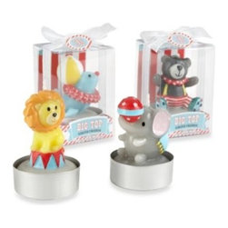 "Kate Aspen - Baby Aspen ""Big Top"" Circus Animal Candles (Set of 4) - Life is always more fun when the circus comes to town! With a friendly faced lion and elephant, seal and bear, this set of adorable circus animal candles brightens up the tables at a circus-themed baby shower."