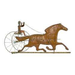 Renovators Supply - Weathervanes Raw Copper Sulky Rider Weathervane - Sulky Rider weathervane crafted of 100 percent unfinished copper for an eventual weathered verdigris patina. Solid brass cardinal points (N, S, E, W) measure 18 in. end to end. Included are: 40 in. black iron mounting pole, copper globes, and instructions. Sulky Rider measures 16 1/2 in. height, and 33 in. width.