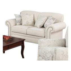 Coaster - Love Seat (Oatmeal) By Coaster - The Norah collection creates a modern blend of both old and new looks. The classy scalloped back, solid wood legs and nailhead trim complement the vintage patterns on the chair and accent pillows to create a distinct look. Plush rolled arms and pocket coil seating are wrapped in a comfy oatmeal linen fabric. Loveseat only. Matching items available separately. Dimensions: 67 x 35 x 36H. Seat Height: 20; Seat Depth: 22