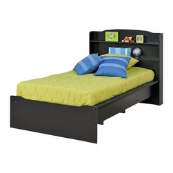 Prepac - Prepac Aspen Black Twin Platform Bed w/ Bookcase Headboard - Twin Platform Bed w/ Bookcase Headboard belongs to Aspen Collection by Prepac Get storage, a bed and a headboard all in one with the Aspen Twin Platform Bed with Integrated Headboard. With its gentle curves, this bed is perfect for a child's room. The bookcase-style headboard offers two 5 inch deep shelves, ideal for toys, photos and other bedside essentials. For even more storage, look to the openings underneath the bed and stow away boxes and totes. Wooden slats provide support for a twin-sized mattress and eliminate the need for a boxspring. Sides are finished with sturdy 3.5 inch wide MDF rails. Platform Bed (1) , Headboard (1)