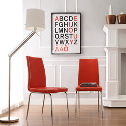 Inspire Q - INSPIRE Q Matilda Hot Red Retro Modern Dining Chair (Set of 2) - These vinyl chairs exhibit contemporary design with contrast trim and minimalistic form. Simple chrome legs finish these modern chairs.