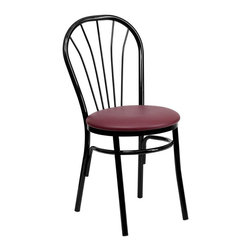 Flash Furniture - Flash Furniture Hercules Fan Back Metal Chair in Black and Burgundy - Flash Furniture - Dining Chairs - XU698BBGVGG - This traditional Fan back chair is often used in the hospitality industry for its casual design. These heavy duty chairs are lightweight to make moving around easy to do. The easy to clean vinyl padded seat is easy to clean when in a high paced environment.