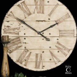 Harrington Clock - Features an antiqued ivory face with gentle distressing around the outer rim and dark chestnut undertones. Requires 1AA battery.