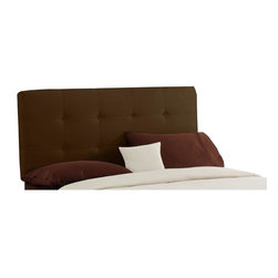 Skyline Furniture - Tufted Upholstered Headboard w Metal Legs (Full: 56 W x 4 D x 54 H) - Choose Size: Full: 56 W x 4 D x 54 HCreate a focal point in your bedroom with this chocolate colored fabric headboard. This softly tufted piece features 2 rows of matching buttons that create a square pattern on the upholstery. The rich hue compliments a variety of color schemes. 4 in. adjustable fabric headboard. 100% Polyester Micro-Suede Fabric. Plush polyurethane foam cotton. Works well with lots of bedroom furniture. Bolts easily to any standard bed frame. One year limited warranty. Made in U.S.A. Made from pine wood. Twin: 41 in. L x 4 in. W x 54 in. H. Full: 56 in. L x 4 in. W x 54 in. H. Queen: 62 in. L x 4 in. W x 54 in. H. Cal. King: 74 in. L x 4 in. W x 54 in. H. Reg. King: 78 in. L x 4 in. W x 54 in. H
