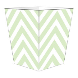 "Marye Kelley - Marye Kelley Mint Chevron Decoupage Wastebasket with Optional Tissue Box, 11"" Sq - This is a handmade decoupage wastebasket with optional tissue box.  All items are handmade in the USA.  There are three different styles available.  There is the 12"" Fluted Tin Design, the 11"" Square Design with a flat top or the 11"" Square design with a scalloped top.  Coordinating tissue boxes may also be made. Please note all items are custom made and may not be returned."