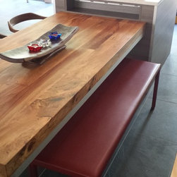 Wood Tables - Take a look at this face-grain Hickory table  with a soft edge, and coated with a well waxed finish. Perfect table for your dining room!
