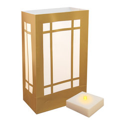 LumaBase Luminarias - Battery Operated LumaLite Kit Lantern - Battery operated luminarias will create festive lighting for your special event. The luminarias are weather resistant, reusable and can be used indoors or outdoors. The battery operated LumaLite will light for over 300 hours on a fresh set of batteries. It will also anchor the luminaria bag. Included: 6 Weather Resistant Plastic Bags, 6 Battery Operated LumaLite LED Lights