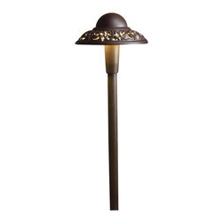 LANDSCAPE - LANDSCAPE LED Pierced Dome Path Light X-TZA75851 - This Kichler Lighting outdoor path light comes with an LED light source housed in a cast aluminum construction. The elegant details around the band are complimented by the warm tones of the Textured Architectural Bronze finish, giving it a softened look.