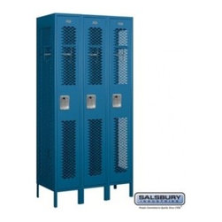 Salsbury Industries - Vented Metal Locker - Single Tier - 3 Wide - 6 Feet High - 18 Inches Deep - Blue - Vented Metal Locker - Single Tier - 3 Wide - 6 Feet High - 18 Inches Deep - Blue - Assembled