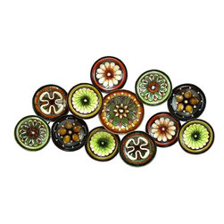 Benzara - Metal Wall Decor with Colorful Flowers Over Round Base - Metal Wall Decor creates a feeling of having something unique because of its unique design concept. It is appreciated by all the visitors. This is an excellent anytime low priced anytime wall decor upgrade option. Designed exclusively for limited edition, it can be fixed on any kind of wall surfaces.